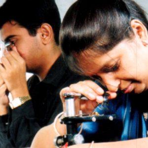 Students examining a diamond under a digital microscope